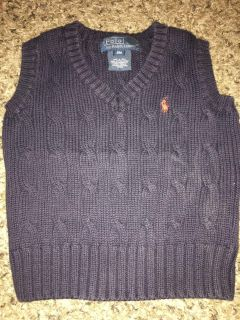 BABY BOY Polo by Ralph Lauren Cable-Knit Cotton Sweater Vest, Navy, Size 9 months