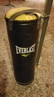80 lb punching bag and pair of boxing gloves in box. $40