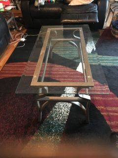 Gray Metal Coffee Table w/Glass Top and 2 Matching End Tables
