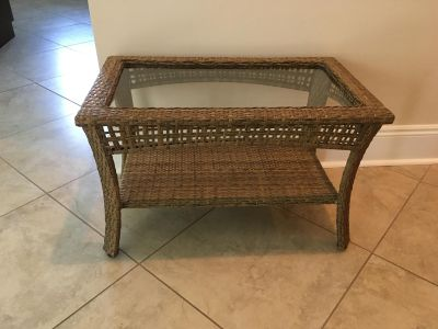Glass and Wicker Patio Table in Excellent Condition