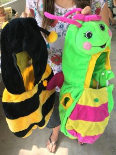 Bumblebee and butterfly costumes!