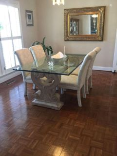 Large Dining Table And 6 Parson Chairs $500.00