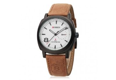 Mens or Womens Water Resistant 30M Analog Quartz Wristwatch with White Dial and Brown Leather Watch Band NEW $15 EA or $25 for TW