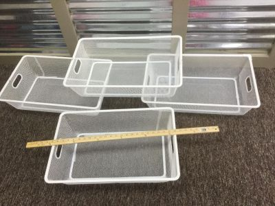 Set of 4 white, metal bins, scroll right for photos to show size. Some light cosmetic wear on some but GUC $6.00