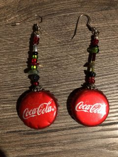 Earrings made from Coca Cola bottle caps