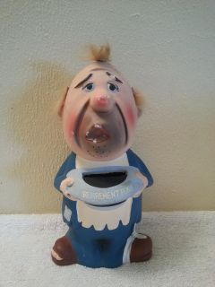 Vintage retirement fund coin Bank old man hobo made in Japan