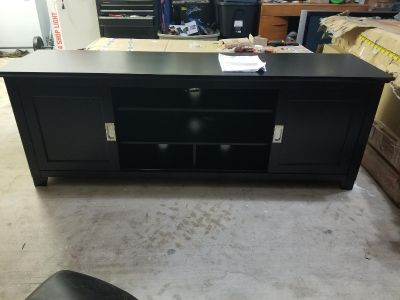 "70"" TV Console with Sliding Doors Black"