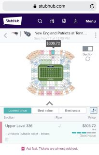 3 - Tennessee Titans vs New England Patriots tickets