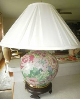 Lovely Matching Pair Floral Ceramic Painted Lamps