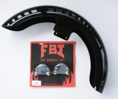 "Purchase FBI FAT BAGGERS 21"" BAGGER FRT FENDER HARLEY FL W/ BRACKETS PAINTED VIVID BLACK motorcycle in Gambrills, Maryland, US, for US $699.00"