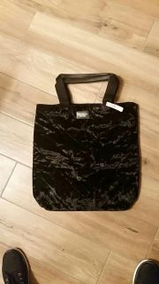 Victoria Secret large black velvet tote. New with tags!