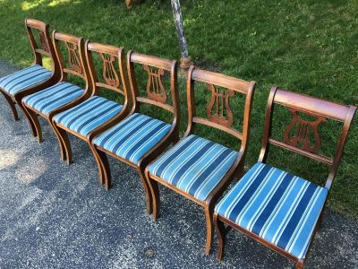 Antique Wooden Lyre Back Chairs (6)