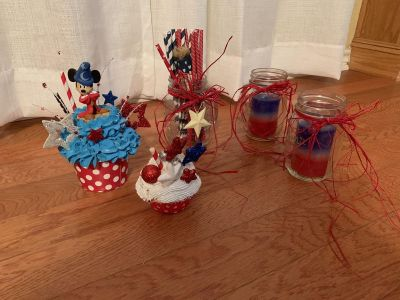 Custom ordered Etsy- Mickey Mouse collectible figurine Cupcake decor and red/white/blue decor in mason jars, straws, candles..Brazoria home