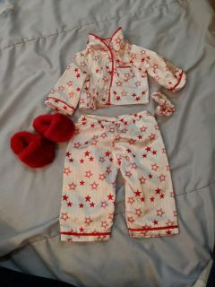American Girl Doll Pajama set complete with slippers and hair tie