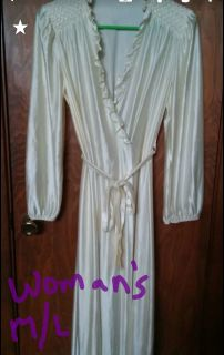 Woman's cream color belted bathrobe