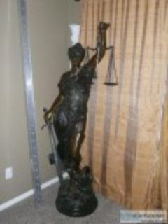 ft bronze statute of Blind Justice
