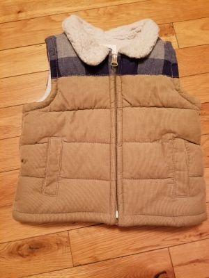 EUC 12-18M Old Navy Soft Corduroy Puffer Vest with navy and Gray Plaid Top and Sherpa Collar Smoke Free Home