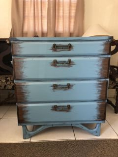 Vintage Chest of 4 Drawers Rustic Royal Blue Bluish Shabby Chic