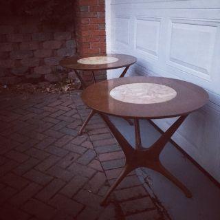 Vintage Mid Century Modern Side Tables Pair