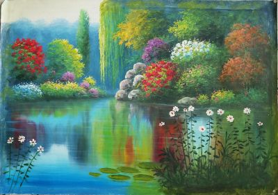 An enchanting 'Flower filled Meadow Brook' Canvas Oil Painting - Signed (24in by 36in on unmound unframed canvas) Very beautiful!
