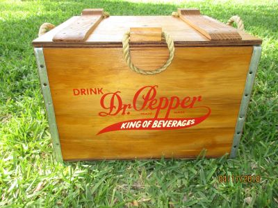 """1885-1985 100 yr ALL WOOD """"DR. PEPPER"""" ANTIQUE ICE CHEST"""