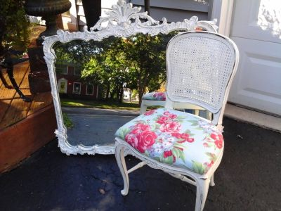 Vintage shabby chic cane chair