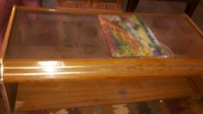 coffee table wood with glass top