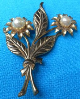 Vintage Brooch OLD Gold Metal Large Pearls Flower Bouquet Hand Tooled Ready to Wear