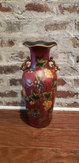 """Red and Gold Vase with Bird and Grape Theme. 17.5"""" T x 9"""" Round. No Chips or Cracks."""