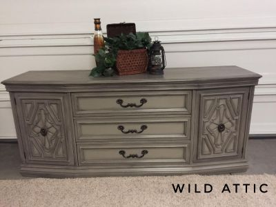 Large Triple Dresser/ TV Console Hand Painted