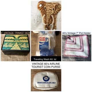 VINTAGE LOT Elephant Patch, Trinket Box, Crochet Potholder,