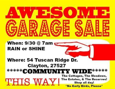 HUGE Community Wide Yard Sale 9/30