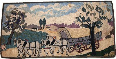 Handmade antique American hooked rug, 1B183
