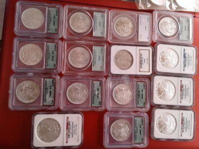 Silver eagles, silver dollar, silver halves and quarters