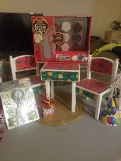 GIRL SCOUT TABLE/ CHAIRS FITS AMERICAN GIRL DOLLS