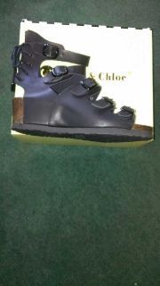 NIB Chloe & Chase Black Sandals Size 7.5
