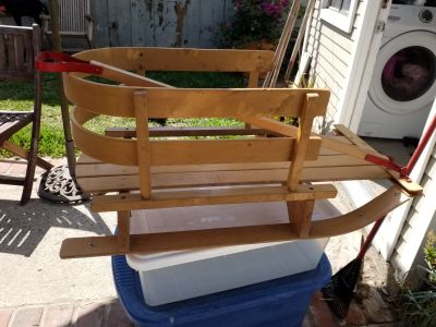 VINTAGE WOOD CHILDS SNOW SLED FROM CANADA