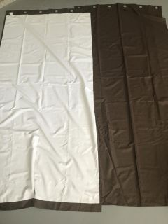 2 Brown Block Out Curtain Panels