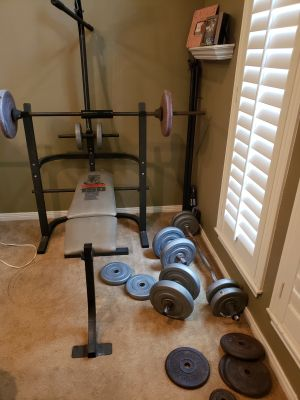 Weight set with bench $100