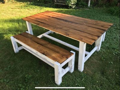 Farmhouse rustic barn wood dining table bench set