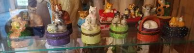 SET OF 13, CERAMIC CAT JEWELRY CASES, EXCELLENT CONDITION, SMOKE FREE HOUSE