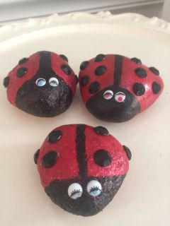 Lady bug rocks for flower beds