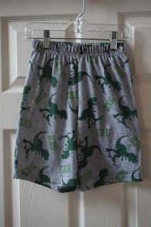 Boys Faded Glory Grey/Green Dinosaur Pajama Shorts Size 6/7