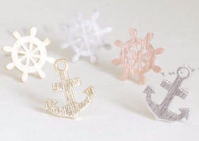 Brand New Anchor and Wheel Mismatched Earrings