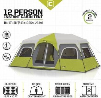 Core Equipment 12 Person Cabin Tent - Delivery Available