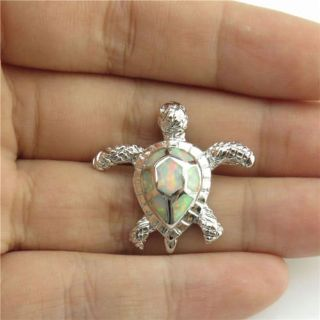 New - Turtle White Fire Opal Pendant (Includes a chain)