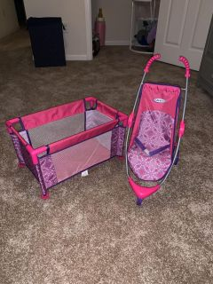 Graco Baby Doll Stroller and Crib
