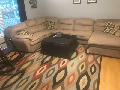 Couch, ottoman and rug $100, must go as a set.