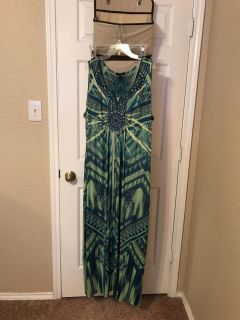 Women's green and blue long dress. Size 2X. EUC. $8