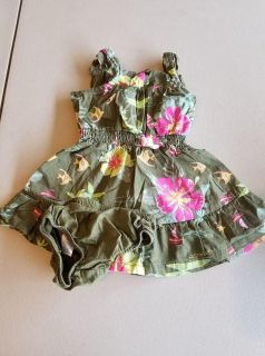 Carters 6 Month Baby Girl Dress with Diaper Cover - Flowers, Fish, Hawaiian Print